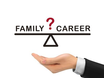balance between family and career holding by realistic hand